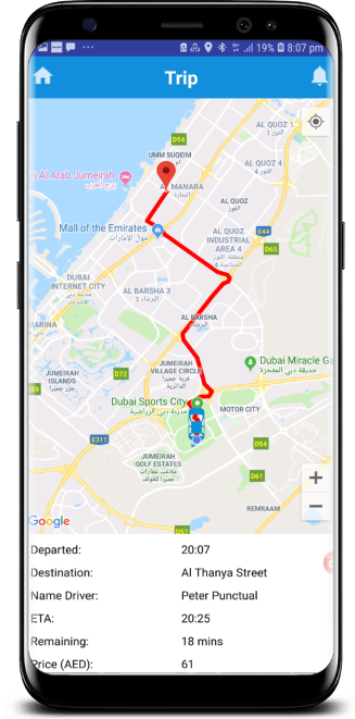Trip Screen showing route